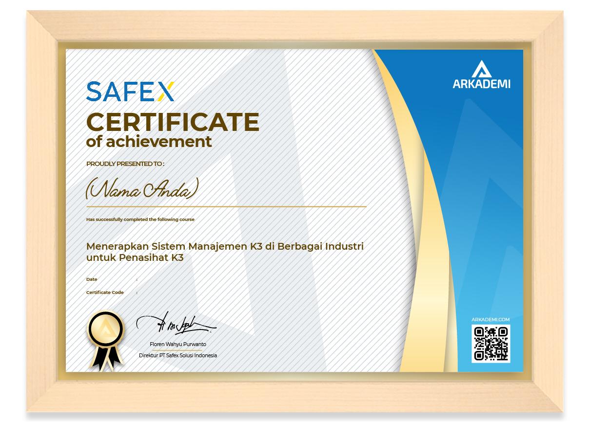 SERTIFIKAT - SAFEX - Menerapkan Sistem Manajemen K3 di Berbagai Industri untuk Penasihat K3_FRAME